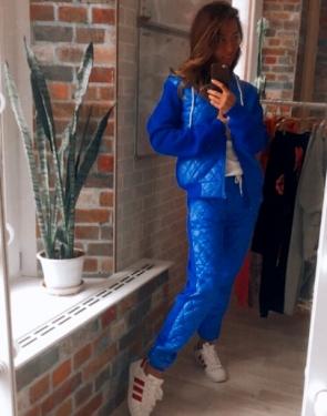 Женский утепленный стеганный костюм на молнии / Синий