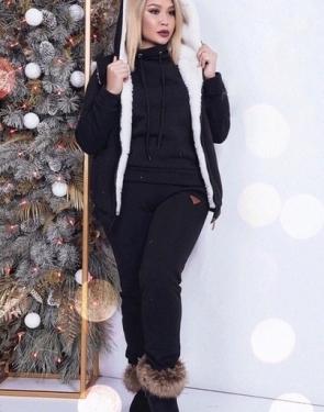 Утепленный спортивный костюм женский Тройка / Большие размеры / Черный