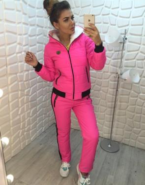 Зимний спортивный костюм на меху Gucci / Ярко-розовый