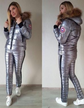 Зимний спортивный костюм Куртка+штаны / Серебро / Графит