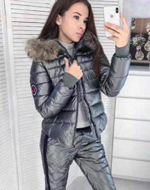 Зимний спортивный костюм Куртка и штаны / Графитовый металлик