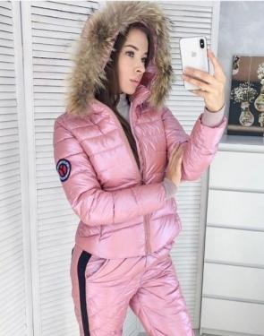 Зимний спортивный костюм Куртка+штаны / Розовый лёд
