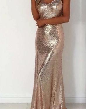 Золотое вечернее платье в пол с пайетками