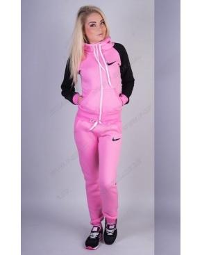 """Утепленный спортивный костюм на молнии """"Nike"""" Розовый с черными рукавами"""
