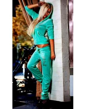 """Велюровый костюм на молнии """"Juicy Couture"""" Яркий Ментол"""