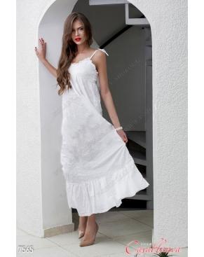 """Платье летнее длинное """"Амели"""" Белое на завязках"""