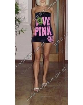 """Велюровый комбинезон """"Love Pink"""" Черничный"""