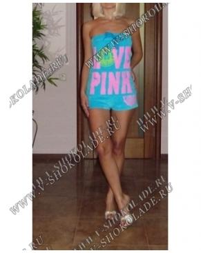 """Велюровый комбинезон """"Love Pink"""" Голубой"""