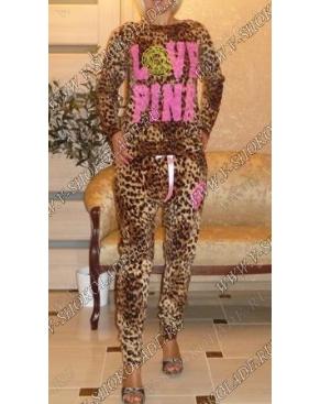 """Велюровый костюм Галифе """"Love Pink"""" Леопардовый"""