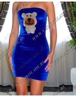 Плюшевое Велюровое Платье-футляр Синее с мишкой