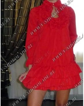 Шифоновое Платье-Топ-Туника Ярко-Красное