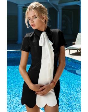 Платье Черное /Белый бант
