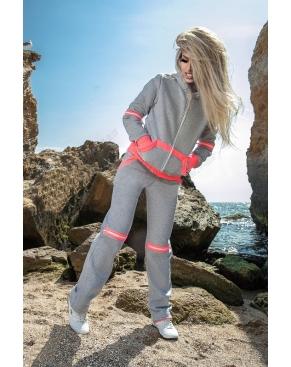"""Спортивный костюм женский утеплённый """"Los Angeles"""" Серый с розовым"""