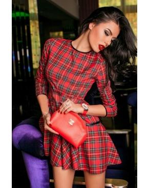 Платье в шотландскую клетку - цвет Красный