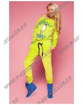 """Велюровый костюм """"Мороженое"""" Салатовый яркий"""