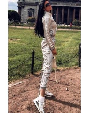 Атласный спортивный костюм на молнии / Серый