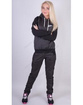 """Утепленный спортивный костюм комбинированный """"Nike"""" Черный+плащевка купить в интернет магазине в шоколаде.ру"""