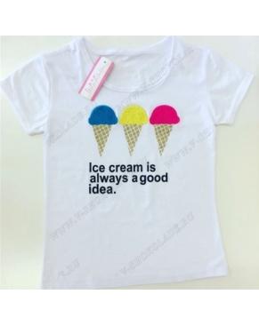 Футболка женская Мороженое/ Белая