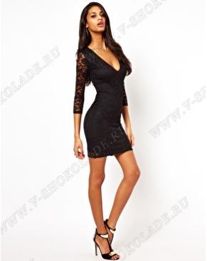 Гипюровое кружевное мини платье Чёрное