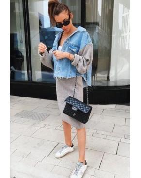 Комплект двойка юбка и джинсовка Jeans Style / Серый