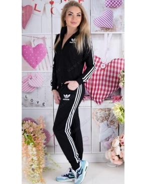 """Спортивный костюм женский """"Adidas"""" Весна/Лето Чёрный на молнии"""