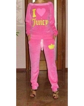 """Велюровый костюм женский """"I Love Juicy"""" Розовый"""