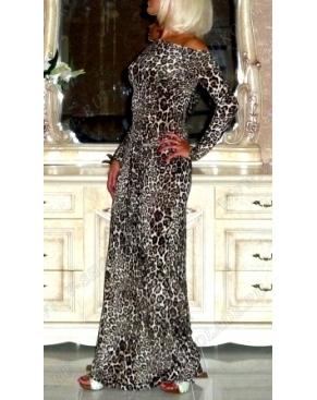Платье на одно плечо Леопард