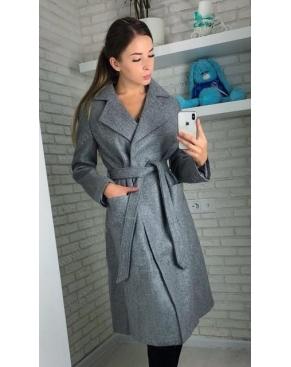 Пальто женское с поясом серое