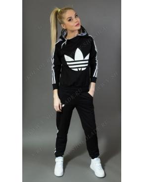 Спортивный костюм Adidas Черный с белым логотипом