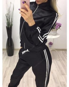 Атласный спортивный костюм на молнии / Чёрный