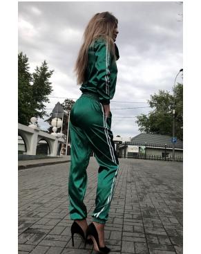 Атласный спортивный костюм на молнии / Зелёный