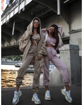 Спортивный костюм Street Style тройка / Латте