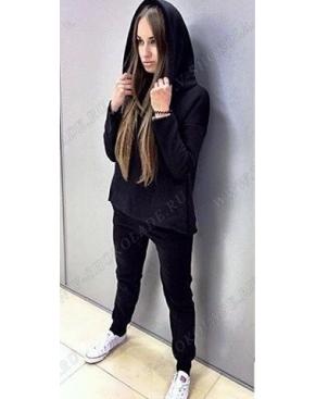 Спортивный костюм утеплённый с капюшоном-воротником Чёрный