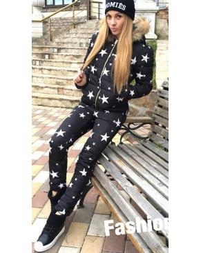 """Тёплый спортивный костюм Куртка+штаны """"Звёздочки"""" / Чёрный"""