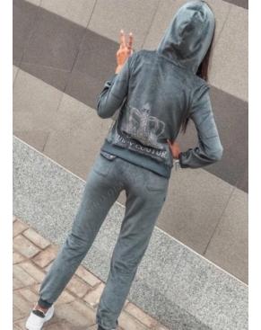 """Велюровый костюм на молнии """"Juicy Couture"""" / Серо-зеленый"""