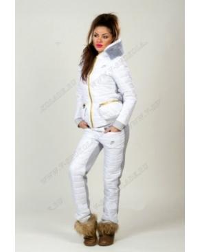 Утепленный спортивный костюм Найк Белый+плащевка