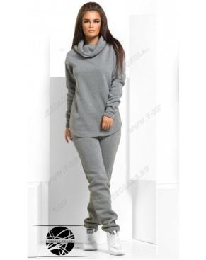 Утепленный спортивный костюм с хомутом / Серый