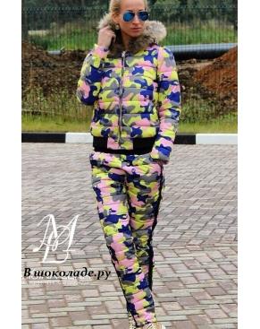 """Осенний костюм женский """"Милитари"""" Камуфляжный / Розовый"""