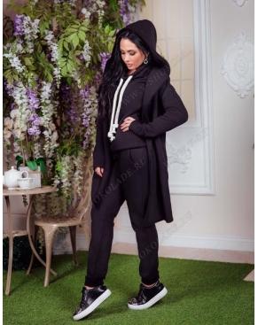 Спортивный костюм женский Тройка с кардиганом / Черный