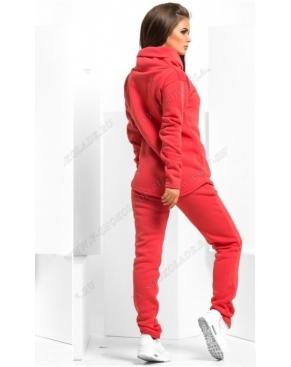 Утепленный спортивный костюм с хомутом / Коралловый