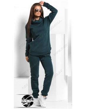 Утепленный спортивный костюм с хомутом / Темно-зелёный