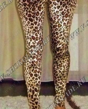 Велюровые Леггинсы Леопардовые