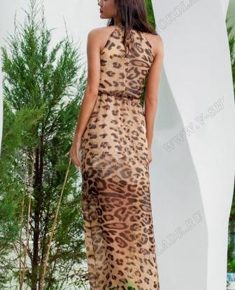 """Шифоновое платье в пол """"Rich"""" Леопард"""