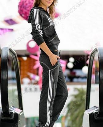 """Спортивный костюм на молнии Адидас """"Sport"""" Тёмно-серый"""