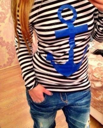 Тельняшка женская Якорь Синий /чёрная полоска