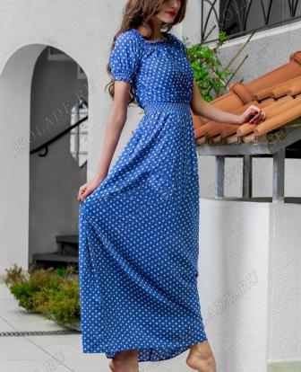 """Платье летнее длинное """"Касабланка"""" Синее в горошек"""