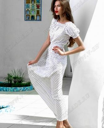 """Платье летнее длинное """"Касабланка"""" Белое в горошек"""