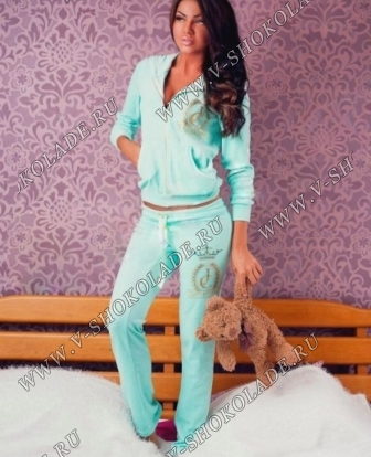 """Велюровый костюм на молнии """"Juicy Couture"""" Ментол"""