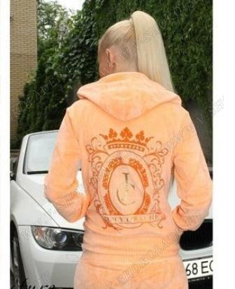 """Велюровый костюм на молнии """"Juicy Couture"""" Персиковый"""