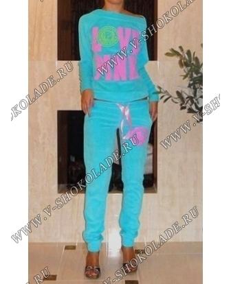 """Велюровый костюм """"Love Pink"""" Голубой классика"""